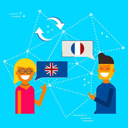 International communication translation concept illustration. Friends from England and France chatting on social media translator app. EPS10 vector.