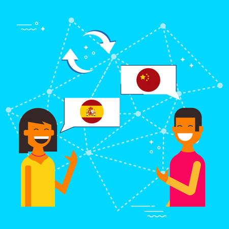 Communication translation concept illustration, modern flat art style. Boy and girl having online conversation in chinese to spanish language. EPS10 vector.
