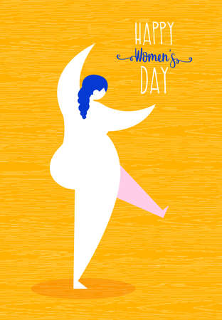 Happy Womens Day greeting card illustration, cute curvy girl dancing in modern flat art style. Cheerful woman celebrating holiday event. EPS10 vector.