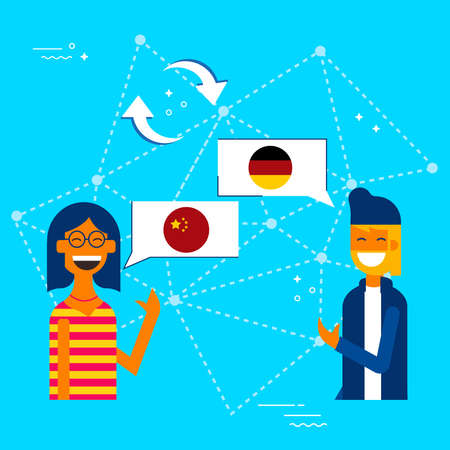 Communication translation concept illustration, modern flat art style. Boy and girl having online conversation in chinese to german language. EPS10 vector. Illustration