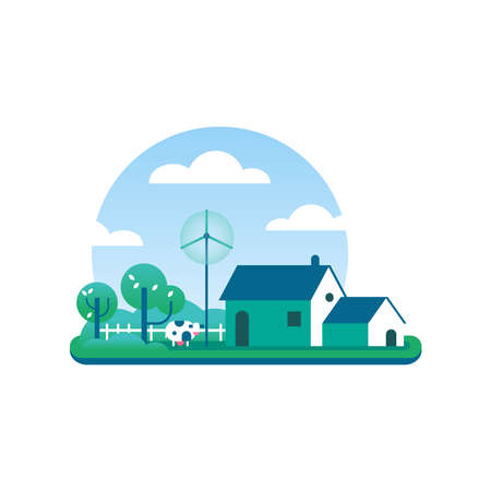 Eco friendly farm house illustration, rural building in flat art style with cow, barn, wind turbine and trees. Sustainable agriculture lifestyle concept for environment care. EPS10 vector. Çizim