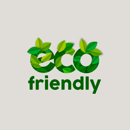 Eco friendly text sign concept illustration with tree leaves in paper cut style. Ecology typography label for awareness, products and environment help. EPS10 vector.