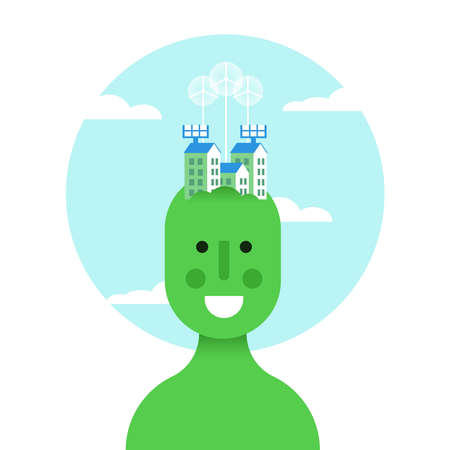 World ecology concept illustration, green man with sustainable city over head. Includes wind turbines, solar panels and houses. EPS10 vector. Illustration