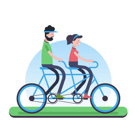 Happy couple outdoor riding a tandem bike together. Eco friendly green team biking concept illustration in trendy flat style. EPS10 vector.