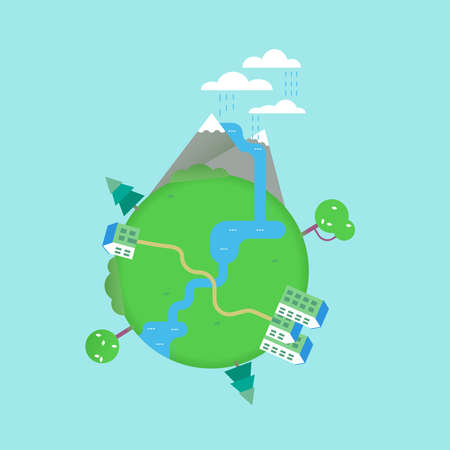 자연 요소와 현대 평면 아트 스타일의 녹색 풍경 지구 개념 그림. 강, 산, 집, 나무를 포함합니다. EPS10 벡터.