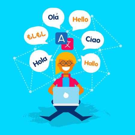 Ilustración de concepto de traductor multilingüe. Chica en la computadora hablando diferentes idiomas con aplicación de traducción. Vector EPS10