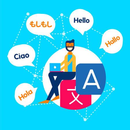 Translation service online concept illustration. Man on computer using translating app in social media site. EPS10 vector.