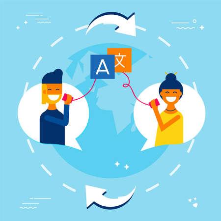 International communication concept illustration. Friends talking on social media in different languages using translation service. EPS10 vector. Illustration