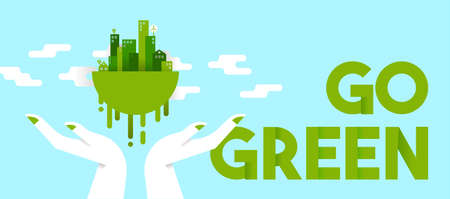 Go green concept illustration, human hands holding planet earth with houses and towers in flat art style for environmental care. Horizontal format ideal as web banner or header. EPS10 vector.