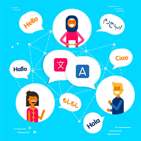 Diverse ethnic group of friends talking in different languages on translation service app. Modern flat art style concept illustration. EPS10 vector.