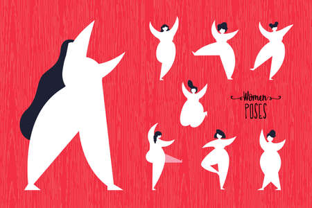 Set of girl poses in modern flat style. Curvy women group dancing and walking on isolated background. EPS10 vector. Illustration