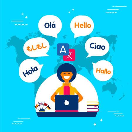 Illustrazione di concetto del traduttore multilingue. Ragazza sul computer che parla lingue diverse usando l'app di traduzione. Vettore eps10