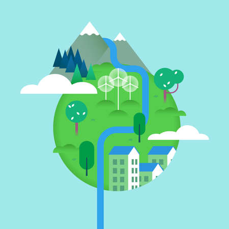 Green world illustration with nature elements and houses, environment conservation concept of planet earth. Includes mountain landscape, river, trees, wind turbines. EPS10 vector. Illustration