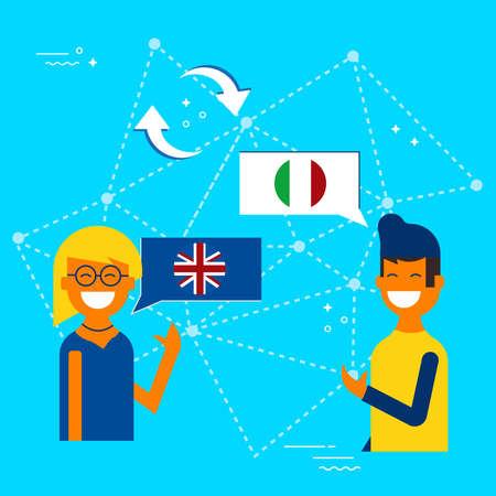 Amici dall'Inghilterra e dall'Italia che traducono conversazione online. Illustrazione di concetto di traduzione di comunicazioni internazionali. Vettore EPS10. Archivio Fotografico - 96840879