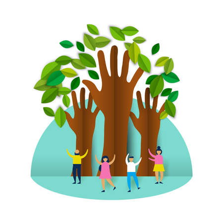 Eco friendly people group concept illustration in paper cut style, happy friends or family with hand shape trees celebrating environment conservation. EPS10 vector. Illustration