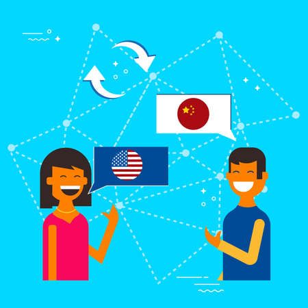 Friends from China and USA translating online conversation. International communications translation concept illustration. EPS10 vector. Archivio Fotografico - 96840882