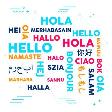 Illustrazione di tipografia di concetto di traduzione di lingua. Diversi modi per salutare in più lingue culturali. Eps10 vettoriale Vettoriali