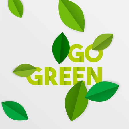 紙切り木の葉で緑のタイポグラフィの引用を行きます。保全と意識のための環境ケアテキストサイン。EPS10 ベクトル。
