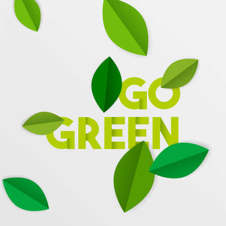 Go green typography quote with paper cut tree leaves. Environment care text sign for conservation and awareness. EPS10 vector. Vettoriali