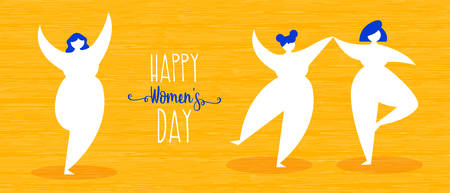 Womens day illustration of happy girls dancing in simple flat style for woman holiday celebration. Horizontal format card ideal as web banner. EPS10 vector.