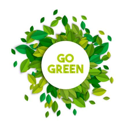Gehen Zeichen-Konzeptillustration des grünen Textes mit Blattstapel in der Papierschnittart. Ökologie-Typografie-Etikett für Bewusstseins- und Umwelthilfe. EPS10 Vektor.