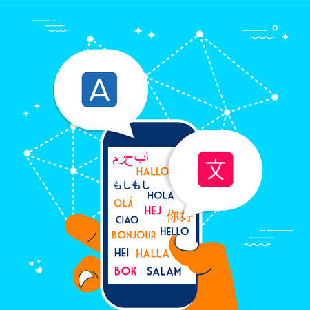 International translation communication concept illustration. Person hand using phone for translating app service. EPS10 vector. Illustration