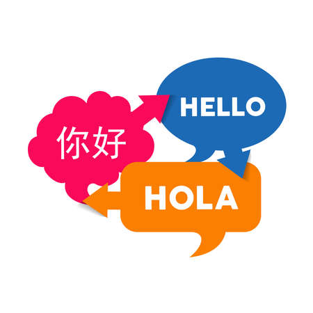 Chat bubbles with different language words, concept illustration for translation idea or international communication