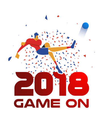 Man playing soccer with ball and 2018 red quote. Special football event illustration ideal for sport tournament. EPS10 vector.