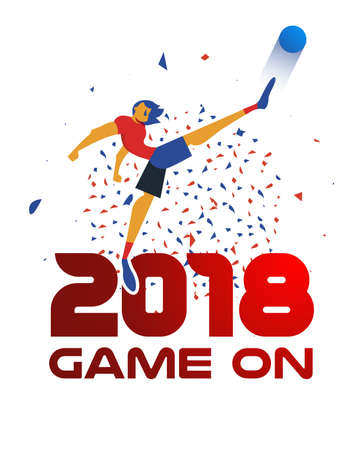 Soccer player kicking ball at football game. Special event illustration with 2018 red typography quote and festive confetti background. EPS10 vector. Illustration