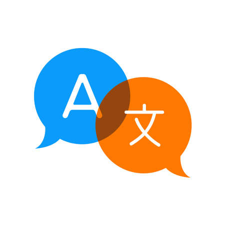 Speech social bubbles with translate icon vector illustration