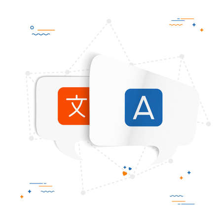 Chat bubbels met vertalen pictogram. Concept illustratie voor vertaling idee of internationale communicatie in papier kunststijl. EPS10 vector. Stockfoto - 97001192