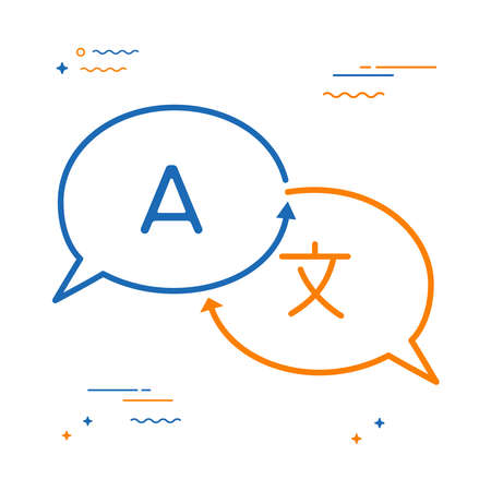 Pictogram voor taalvertaling in de vorm van een praatjebel. Internationale communicatie gesprek concept illustratie. EPS10 vector. Stockfoto - 97001193