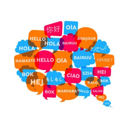 Sociale praatjebellen met verschillende taalwoorden in de vorm van de toespraakbel, conceptenillustratie voor internationale communicatie en vertaling. EPS10 vector.