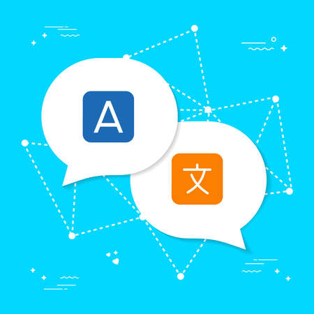 International communication translation concept illustration. Foreign language conversation icons in chat bubble shapes. EPS10 vector. Illustration