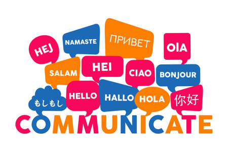Chat bubbles with different foreign languages hello word, concept illustration for translation idea or international communication. EPS10 vector. 일러스트