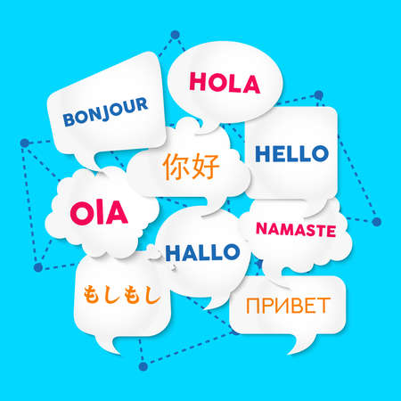 Chat bubbles with hello word in different languages, concept illustration for translation idea or international communication. EPS10 vector. Stock Illustratie