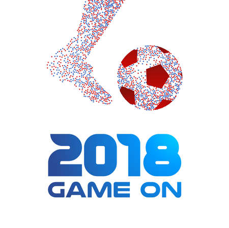 Soccer player kicking ball made of colorful dots with 2018 game typography quote. Ideal for football match or sport event. EPS10 vector. Illustration