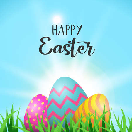 Easter holiday greeting card illustration, painted eggs hiding behind spring grass with happy celebration message. EPS10 vector. Archivio Fotografico - 97151470