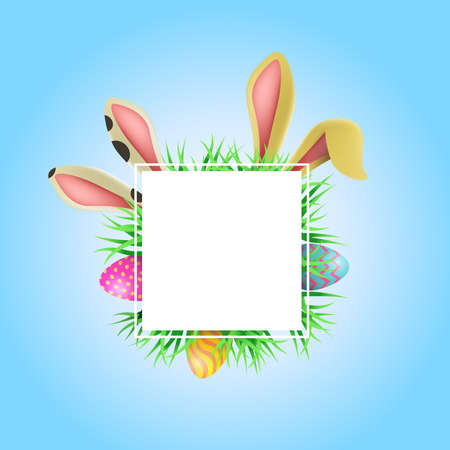 Happy Easter holiday illustration template. Empty card frame with copy space includes funny rabbit ears, painted eggs and spring elements. EPS10 vector.