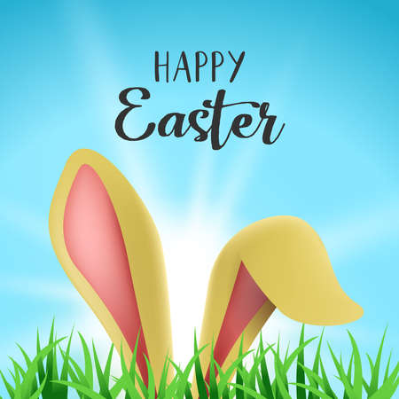 Easter bunny holiday greeting card illustration, rabbit ears hiding behind garden grass with happy celebration message. EPS10 vector.