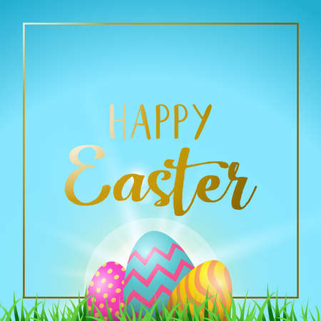 Easter holiday greeting card illustration, painted eggs hiding behind grass with happy celebration message and frame in gold color. EPS10 vector. Illustration