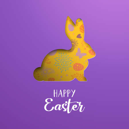 Happy Easter greeting illustration. Paper cut 3d bunny silhouette cutout with colorful hand drawn holiday eggs and spring flower doodles.