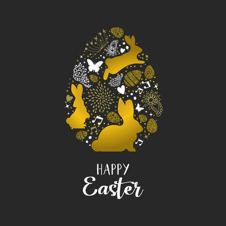 Happy Easter holiday greeting card with gold glitter icons in egg shape. Includes cute rabbits, spring elements and luxury decoration.