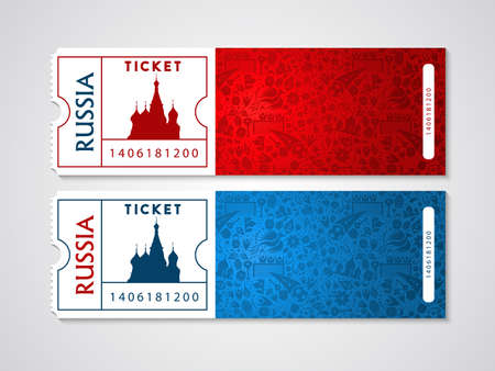 Russian plane tickets with traditional moscow landmark and culture icons. Air travel stamp for Russia tourism.