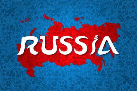 Russia background decoration with traditional culture and sport icons, country map and Russian typography. 일러스트