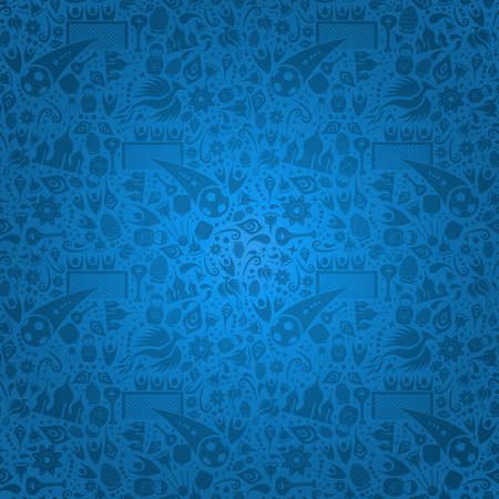 Russia symbol decoration background in blue color. Traditional russian culture and sport elements template.