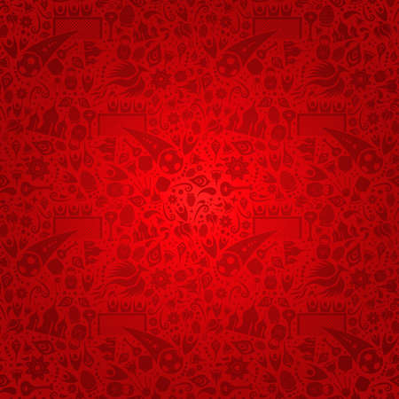 Russia symbol decoration background in red color. Traditional russian culture and sports elements template. Includes moscow landmark and flowers. Stock Illustratie