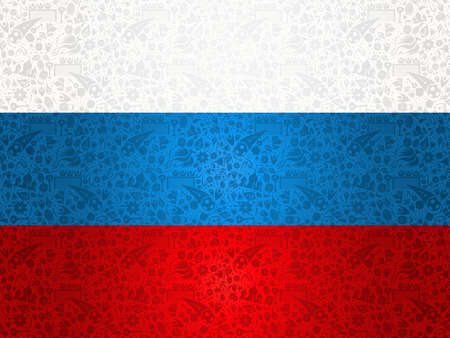 Russia symbol decoration background in country flag colors. Traditional russian culture elements template. Illustration