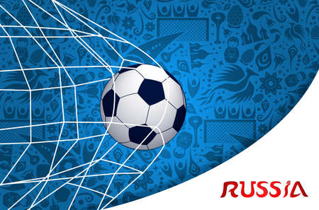 Russia illustration with football goal and traditional russian culture background.