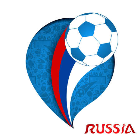 Russia illustration, paper cut style design. Football background with game ball in russian country flag colors.